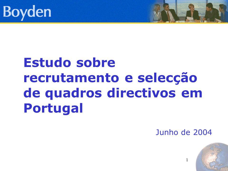 1 Estudo sobre recrutamento e selecção de quadros directivos em Portugal Junho de 2004