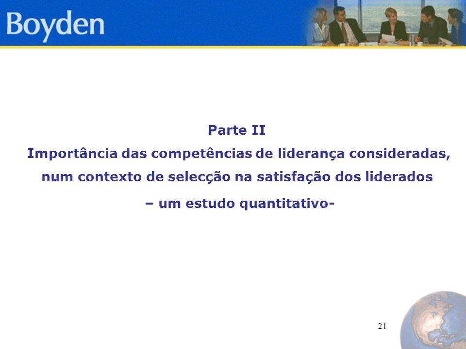 21 Parte II Importância das competências de liderança consideradas, num contexto de selecção na satisfação dos liderados – um estudo quantitativo-