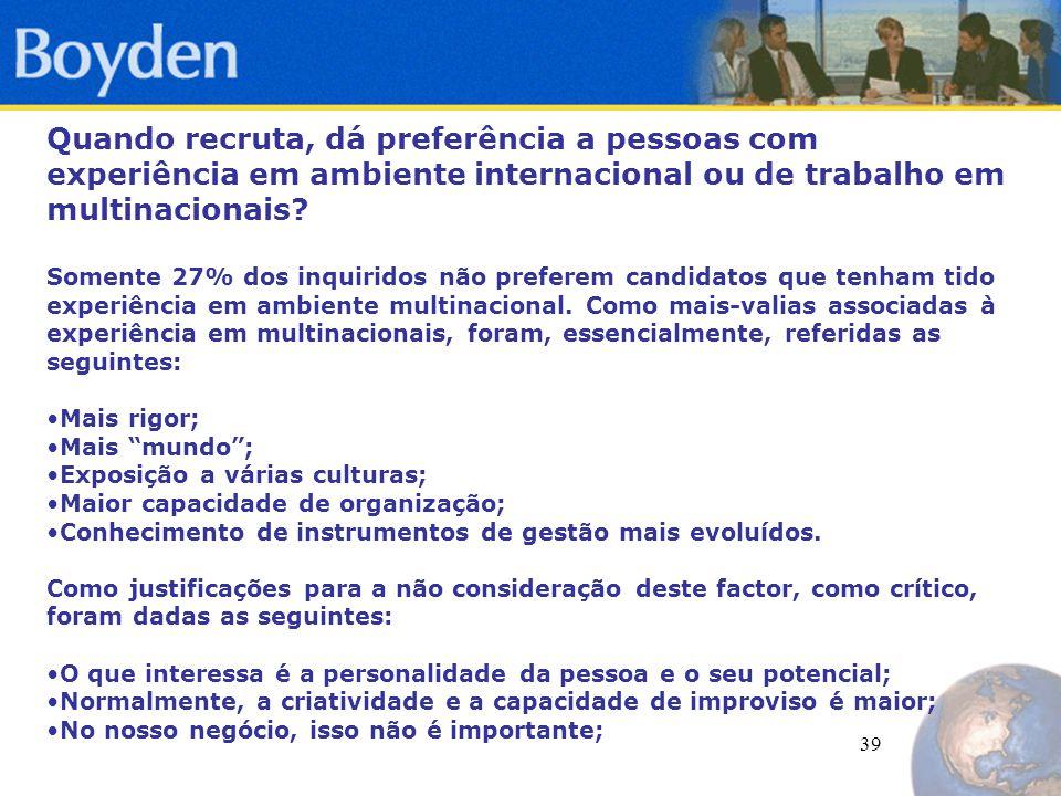 39 Quando recruta, dá preferência a pessoas com experiência em ambiente internacional ou de trabalho em multinacionais.