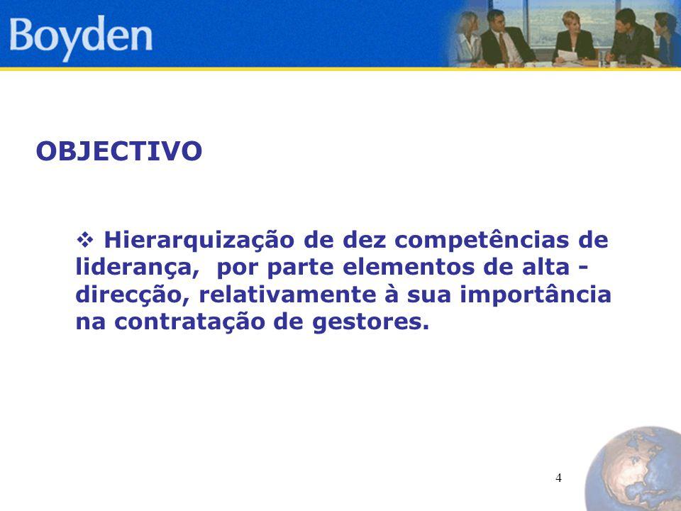 4 OBJECTIVO  Hierarquização de dez competências de liderança, por parte elementos de alta - direcção, relativamente à sua importância na contratação de gestores.