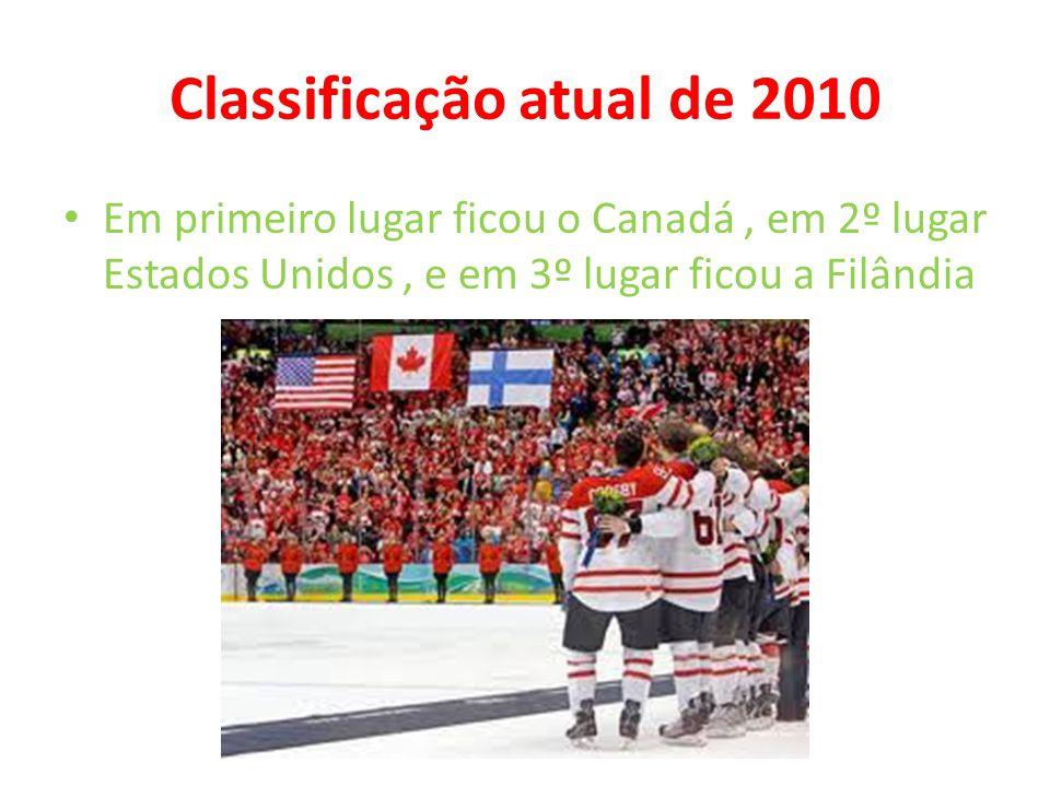 Classificação atual de 2010 • Em primeiro lugar ficou o Canadá, em 2º lugar Estados Unidos, e em 3º lugar ficou a Filândia