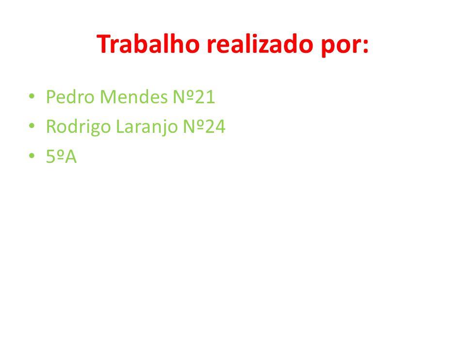 Trabalho realizado por: • Pedro Mendes Nº21 • Rodrigo Laranjo Nº24 • 5ºA