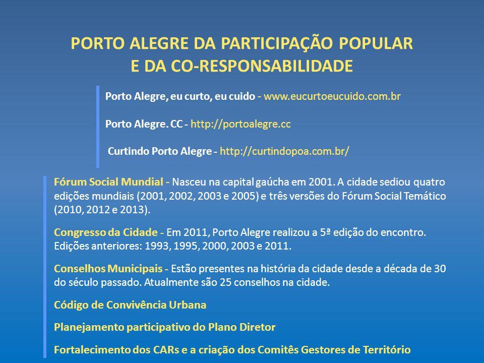 PORTO ALEGRE DA PARTICIPAÇÃO POPULAR E DA CO-RESPONSABILIDADE Porto Alegre, eu curto, eu cuido - www.eucurtoeucuido.com.br Porto Alegre. CC - http://p