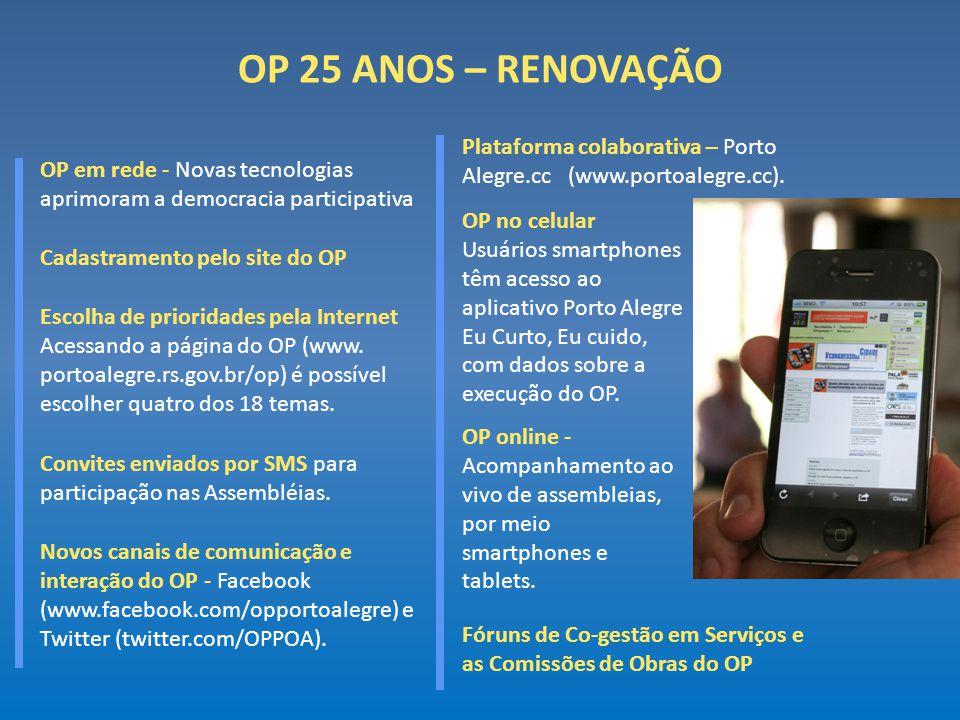 OP 25 ANOS – RENOVAÇÃO OP em rede - Novas tecnologias aprimoram a democracia participativa Fóruns de Co-gestão em Serviços e as Comissões de Obras do