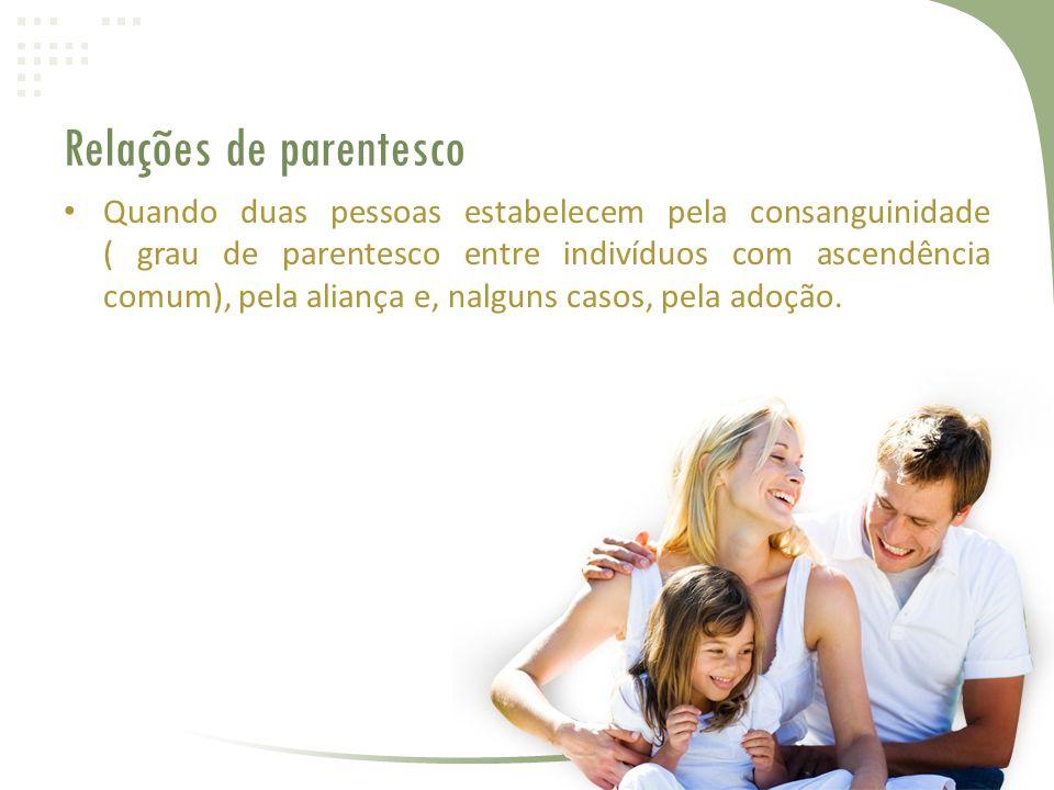 Relações de parentesco • Quando duas pessoas estabelecem pela consanguinidade ( grau de parentesco entre indivíduos com ascendência comum), pela aliança e, nalguns casos, pela adoção.