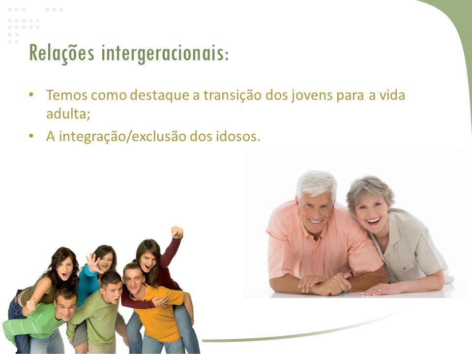 Relações intergeracionais: • Temos como destaque a transição dos jovens para a vida adulta; • A integração/exclusão dos idosos.