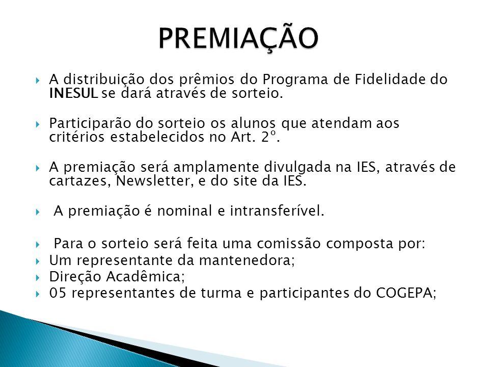  A distribuição dos prêmios do Programa de Fidelidade do INESUL se dará através de sorteio.