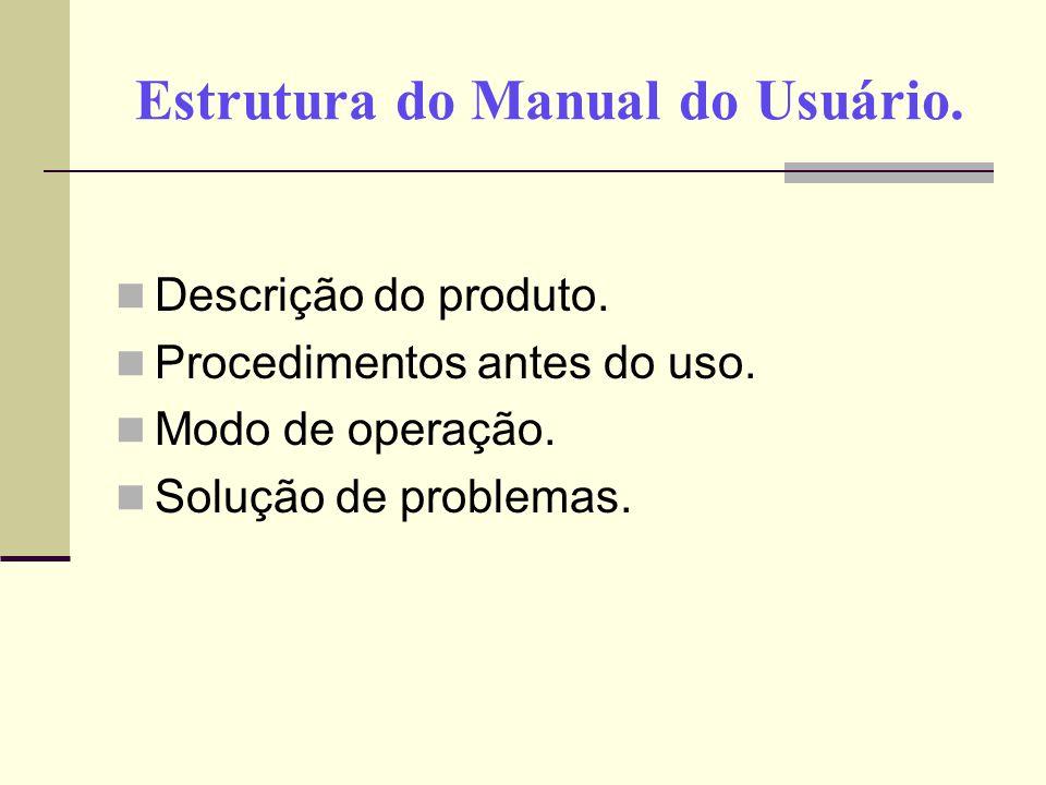 Estrutura do Manual do Usuário.  Descrição do produto.  Procedimentos antes do uso.  Modo de operação.  Solução de problemas.