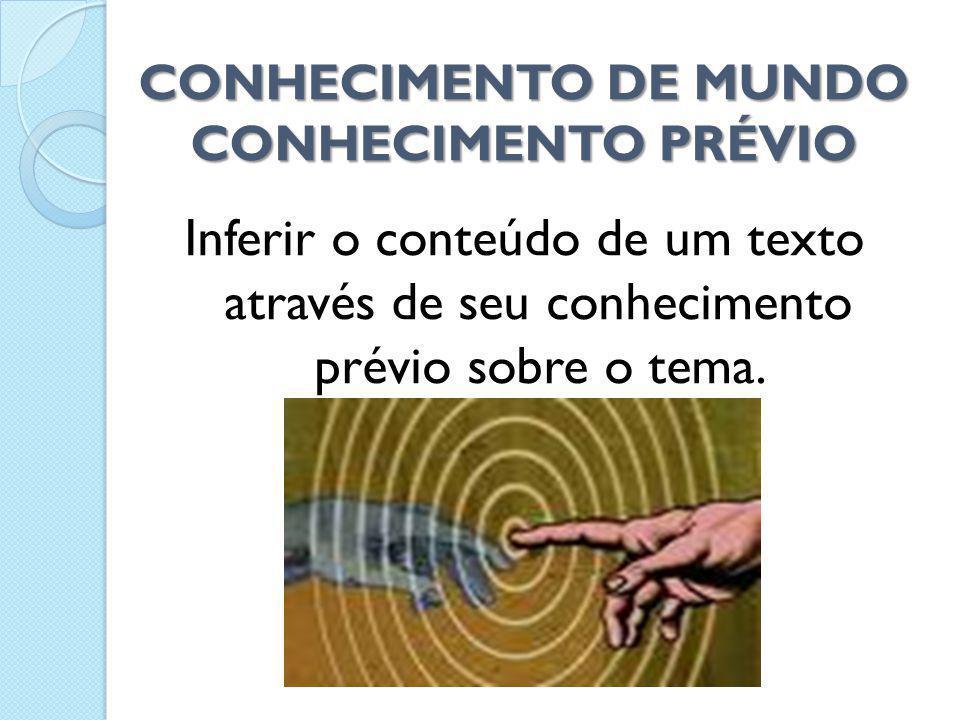 CONHECIMENTO DE MUNDO CONHECIMENTO PRÉVIO Inferir o conteúdo de um texto através de seu conhecimento prévio sobre o tema.