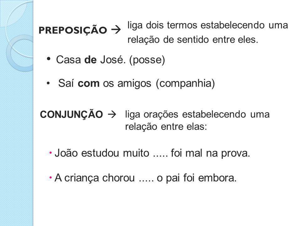 PREPOSIÇÃO  • Casa de José. (posse) • Saí com os amigos (companhia) liga dois termos estabelecendo uma relação de sentido entre eles. CONJUNÇÃO  lig