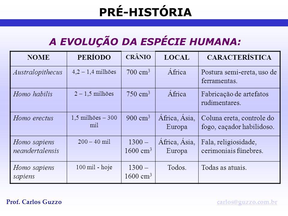 PRÉ-HISTÓRIA Prof. Carlos Guzzocarlos@guzzo.com.br A EVOLUÇÃO DA ESPÉCIE HUMANA: NOMEPERÍODO CRÂNIO LOCALCARACTERÍSTICA Australopithecus 4,2 – 1,4 mil