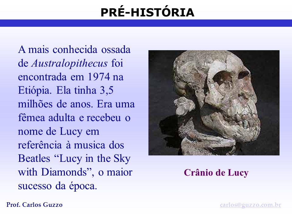 PRÉ-HISTÓRIA Prof. Carlos Guzzocarlos@guzzo.com.br A mais conhecida ossada de Australopithecus foi encontrada em 1974 na Etiópia. Ela tinha 3,5 milhõe