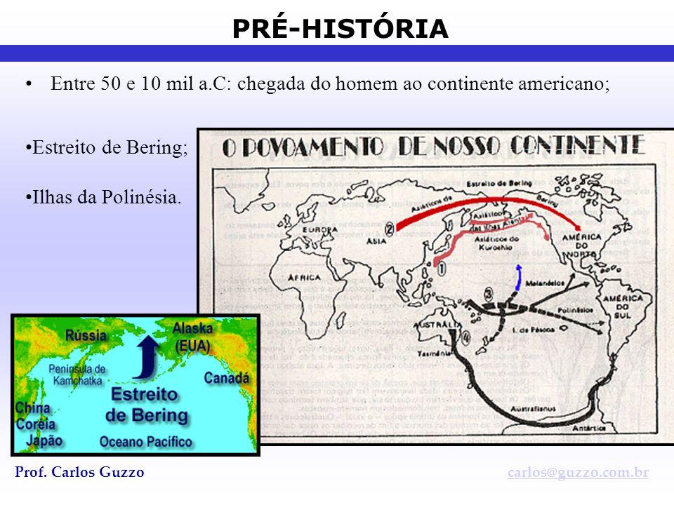 PRÉ-HISTÓRIA Prof. Carlos Guzzocarlos@guzzo.com.br •Entre 50 e 10 mil a.C: chegada do homem ao continente americano; •Estreito de Bering; •Ilhas da Po