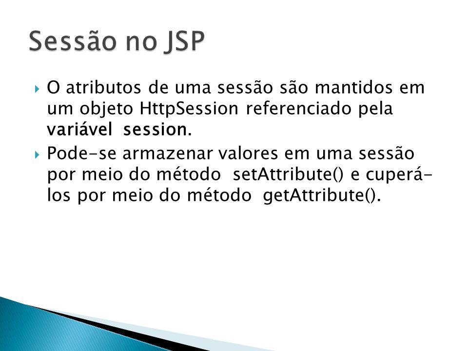  O atributos de uma sessão são mantidos em um objeto HttpSession referenciado pela variável session.