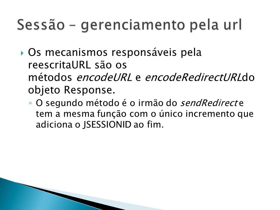  Os mecanismos responsáveis pela reescritaURL são os métodos encodeURL e encodeRedirectURLdo objeto Response.
