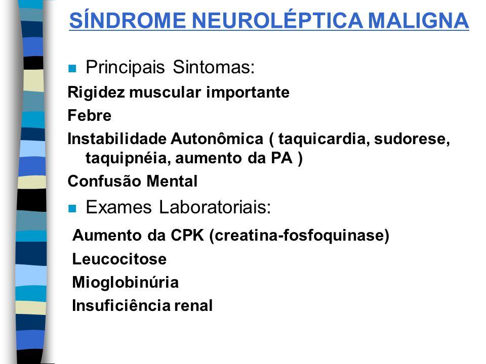 SÍNDROME NEUROLÉPTICA MALIGNA n Principais Sintomas: Rigidez muscular importante Febre Instabilidade Autonômica ( taquicardia, sudorese, taquipnéia, a