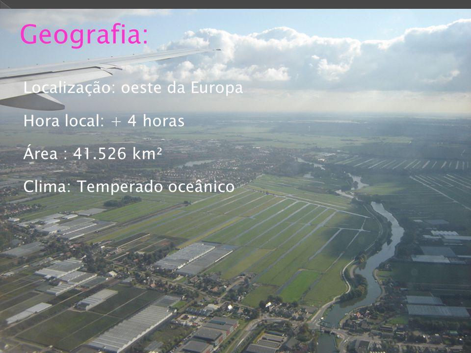 Geografia: Localização: oeste da Europa Hora local: + 4 horas Área : 41.526 km² Clima: Temperado oceânico