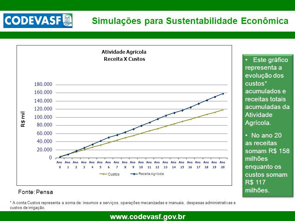 13 www.codevasf.gov.br Simulações para Sustentabilidade Econômica Fonte: Pensa • Este gráfico representa a evolução dos custos* acumulados e receitas totais acumuladas da Atividade Agrícola.