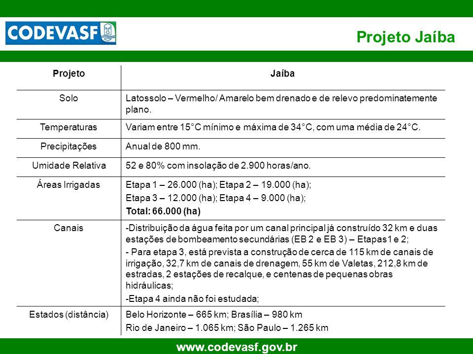 30 www.codevasf.gov.br Projeto Jaíba ProjetoJaíba SoloLatossolo – Vermelho/ Amarelo bem drenado e de relevo predominatemente plano.