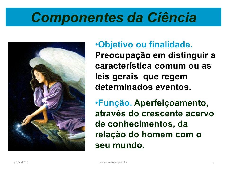 Componentes da Ciência •Objetivo ou finalidade.