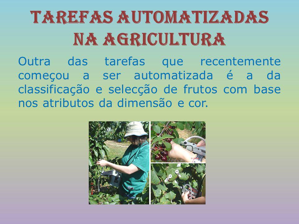 Tarefas automatizadas na agricultura Outra das tarefas que recentemente começou a ser automatizada é a da classificação e selecção de frutos com base