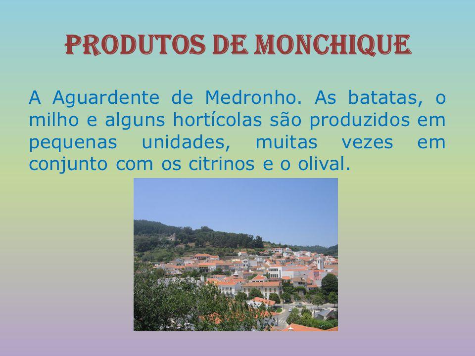 Produtos de Monchique A Aguardente de Medronho. As batatas, o milho e alguns hortícolas são produzidos em pequenas unidades, muitas vezes em conjunto