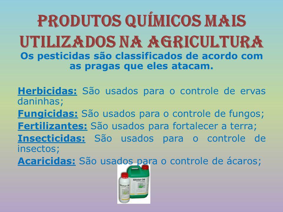 Produtos químicos mais utilizados na agricultura Os pesticidas são classificados de acordo com as pragas que eles atacam. Herbicidas: São usados para