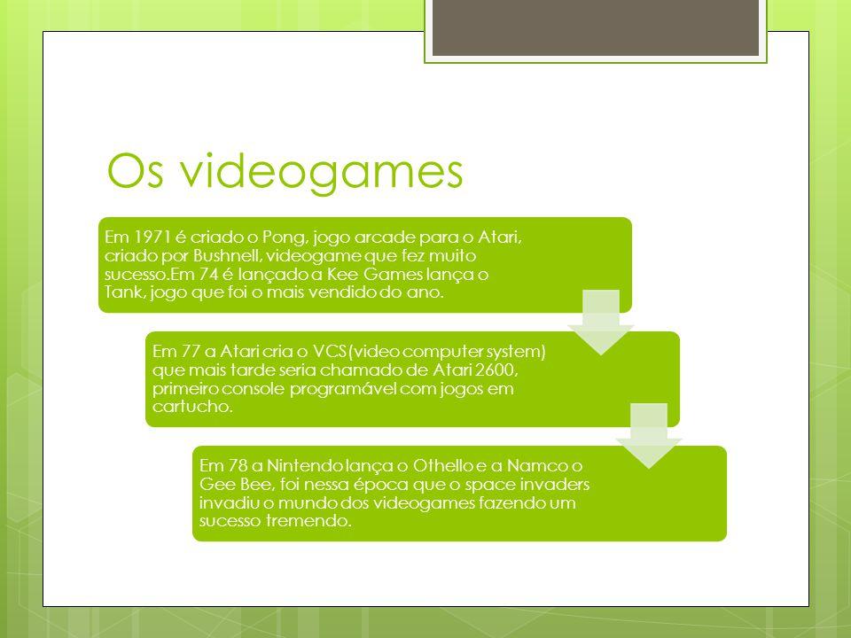 Os videogames Em 1971 é criado o Pong, jogo arcade para o Atari, criado por Bushnell, videogame que fez muito sucesso.Em 74 é lançado a Kee Games lança o Tank, jogo que foi o mais vendido do ano.
