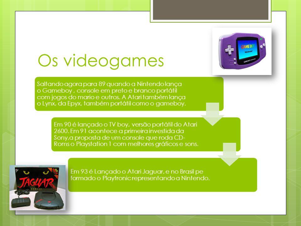 Os videogames Saltando agora para 89 quando a Nintendo lança o Gameboy, console em preto e branco portátil com jogos do mario e outros.