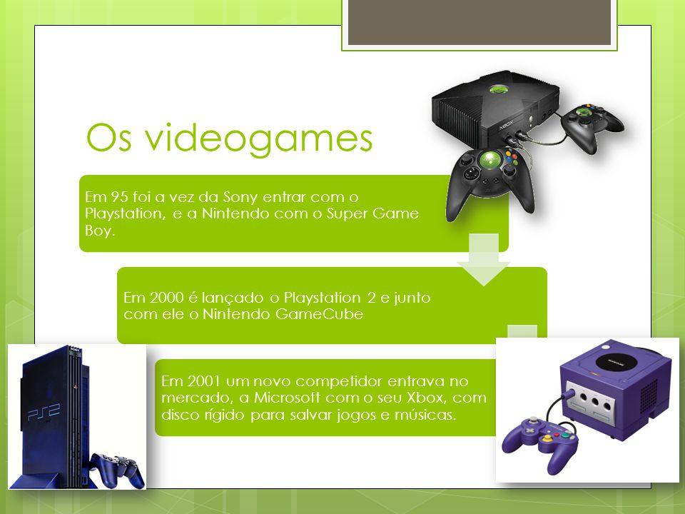 Os videogames Em 2005 a Microsoft entrou com seu Xbox 360, em 2006 a Sony com o Playstation 3 e a Nintendo com O Wii Em breve sairam os novos videogames da Sony, Microsoft e nintendo, o Xbox 360 Elite e jasper são promessas e uma balança para o Wii o Wii Fit.