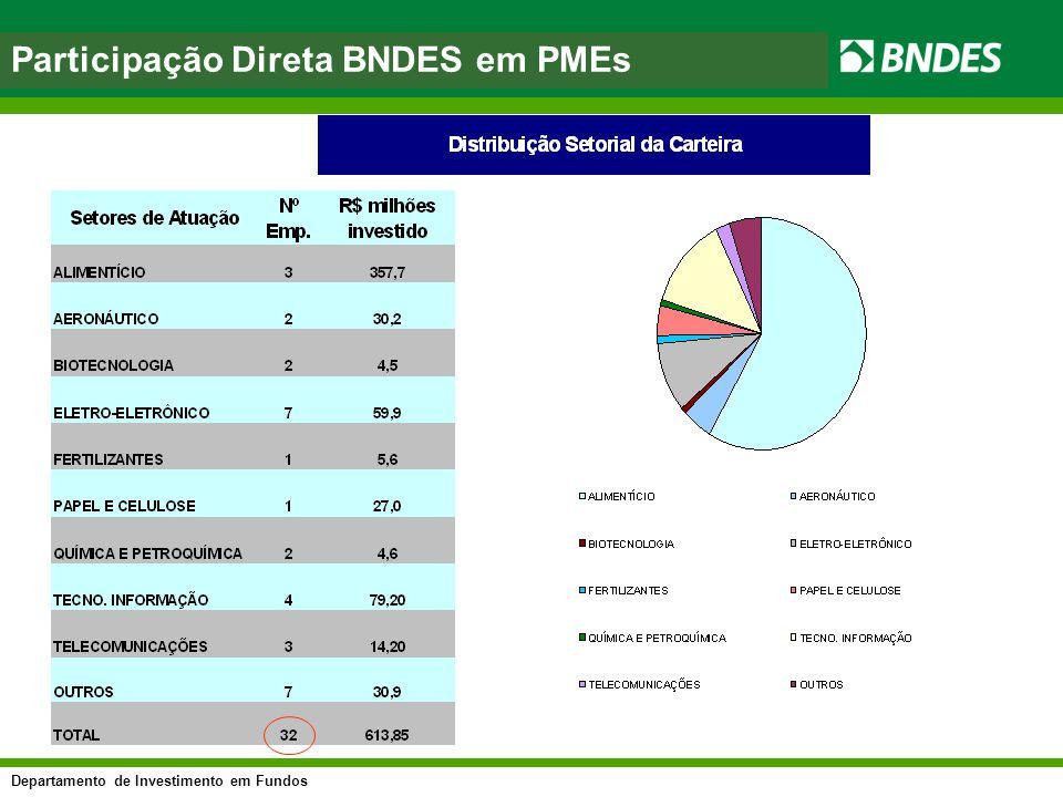 Departamento de Investimento em Fundos asfasf Participação Direta BNDES em PMEs