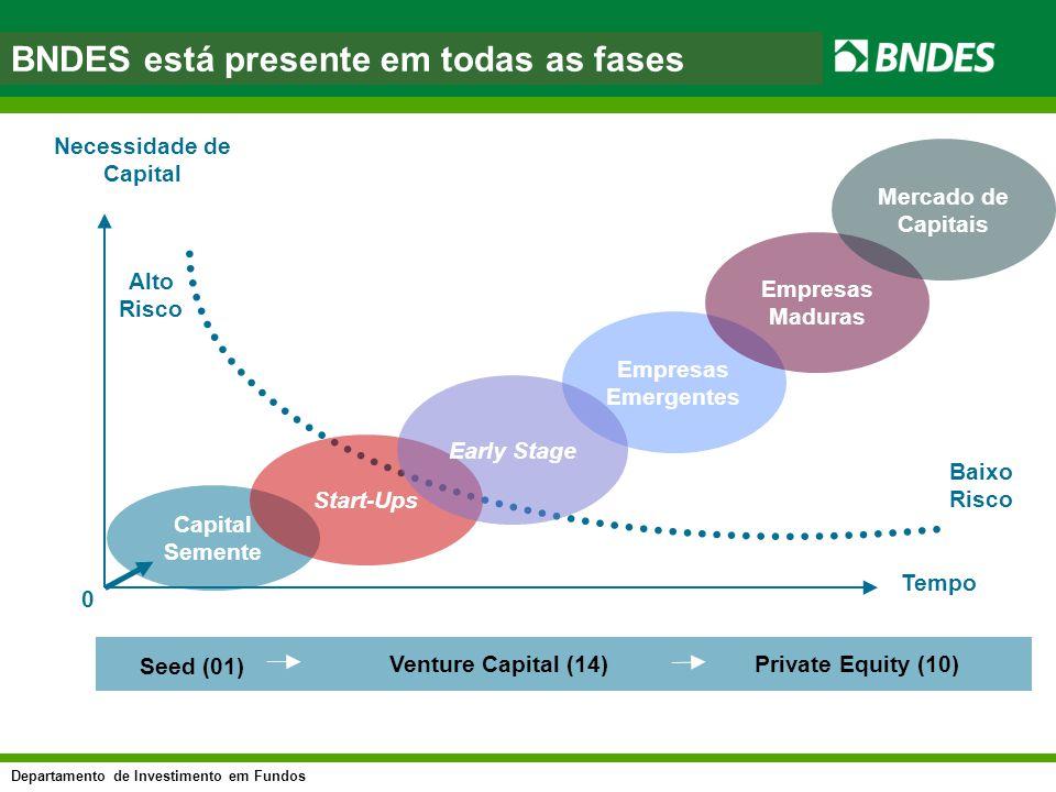 Departamento de Investimento em Fundos asfasf Necessidade de Capital Tempo Seed (01) Venture Capital (14)Private Equity (10) Baixo Risco Capital Semen