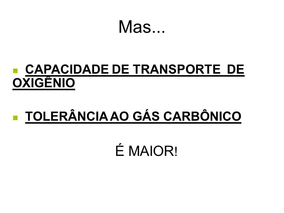  CAPACIDADE DE TRANSPORTE DE OXIGÊNIO  TOLERÂNCIA AO GÁS CARBÔNICO É MAIOR ! Mas...