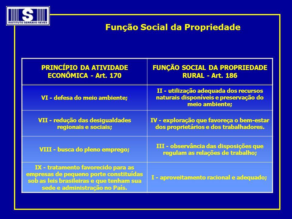 PRINCÍPIO DA ATIVIDADE ECONÔMICA - Art. 170 FUNÇÃO SOCIAL DA PROPRIEDADE RURAL - Art. 186 VI - defesa do meio ambiente; II - utilização adequada dos r