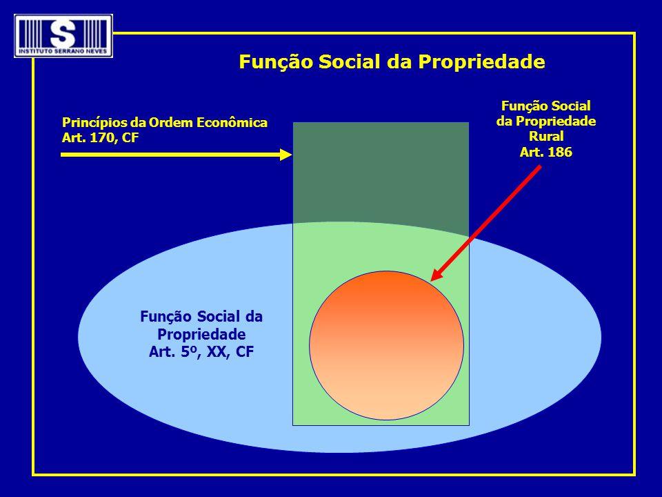 Função Social da Propriedade Art. 5º, XX, CF Princípios da Ordem Econômica Art. 170, CF Função Social da Propriedade Rural Art. 186