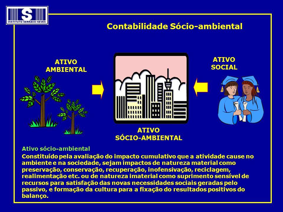 Ativo sócio-ambiental Constituído pela avaliação do impacto cumulativo que a atividade cause no ambiente e na sociedade, sejam impactos de natureza ma