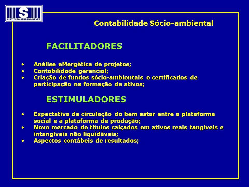 FACILITADORES •Análise eMergética de projetos; •Contabilidade gerencial; •Criação de fundos sócio-ambientais e certificados de participação na formaçã