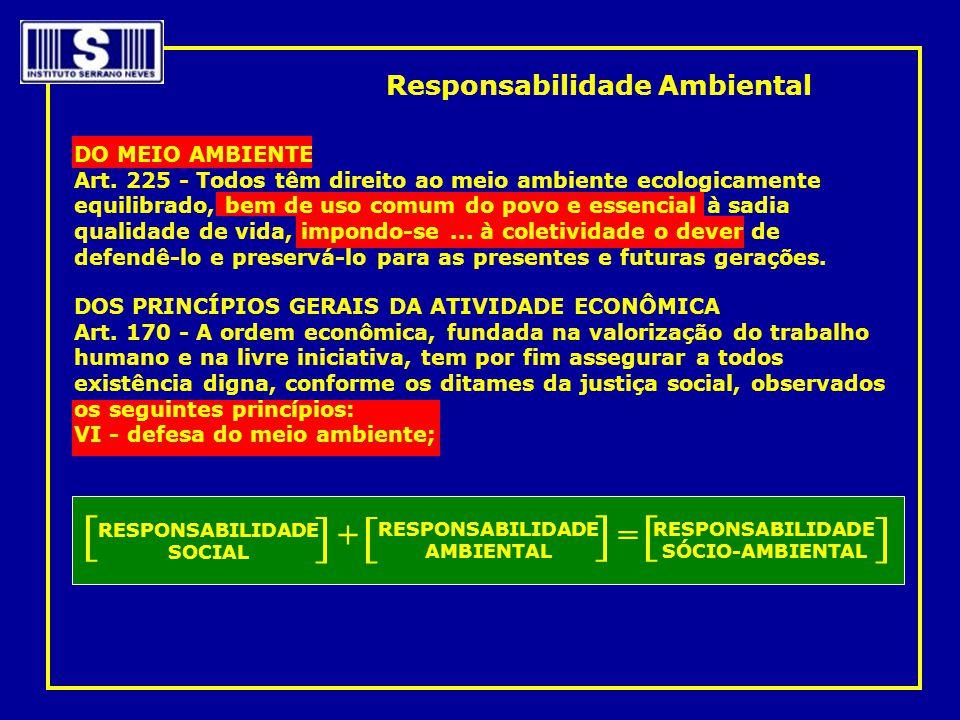 Responsabilidade Ambiental DO MEIO AMBIENTE Art. 225 - Todos têm direito ao meio ambiente ecologicamente equilibrado, bem de uso comum do povo e essen