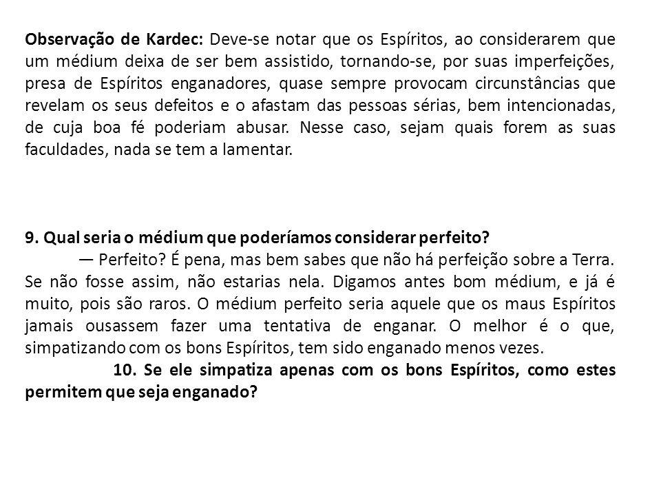 Observação de Kardec: Deve-se notar que os Espíritos, ao considerarem que um médium deixa de ser bem assistido, tornando-se, por suas imperfeições, pr