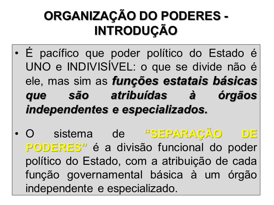 ORGANIZAÇÃO DO PODERES - INTRODUÇÃO funções estatais básicas que são atribuídas à órgãos independentes e especializados. •É pacífico que poder polític