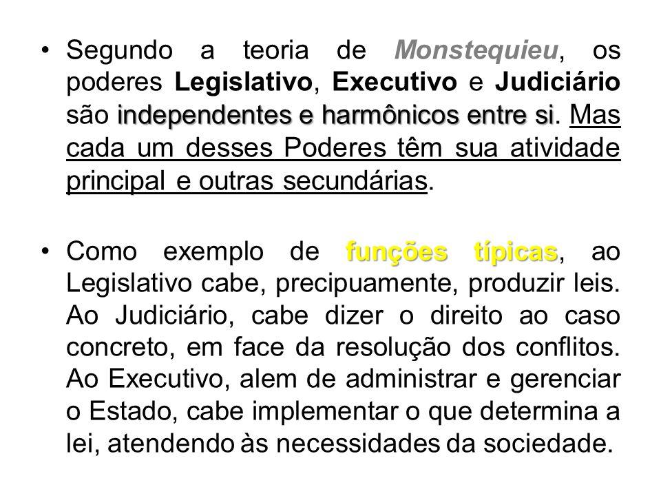 independentes e harmônicos entre si •Segundo a teoria de Monstequieu, os poderes Legislativo, Executivo e Judiciário são independentes e harmônicos entre si.