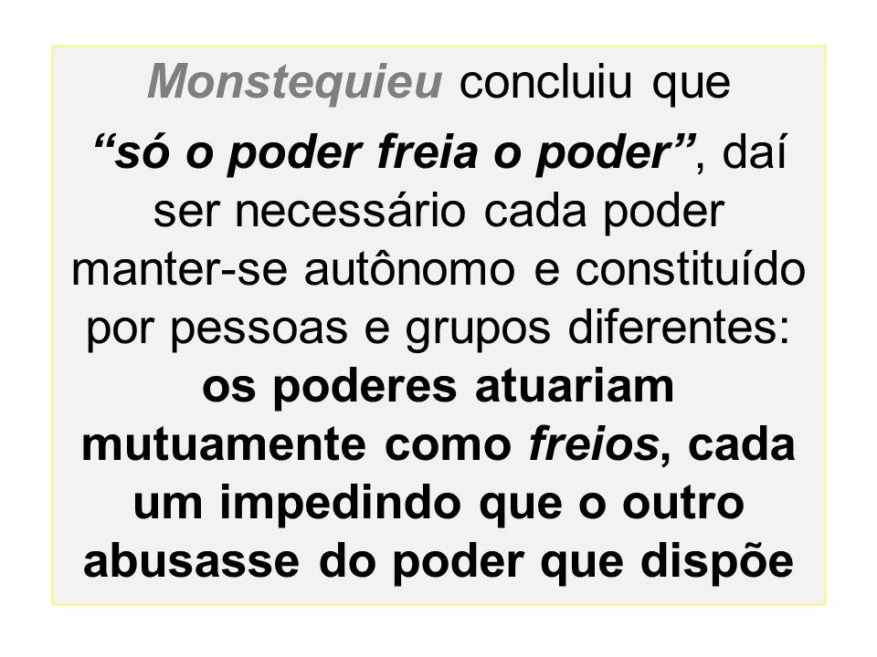 """Monstequieu concluiu que """"só o poder freia o poder"""", daí ser necessário cada poder manter-se autônomo e constituído por pessoas e grupos diferentes: o"""