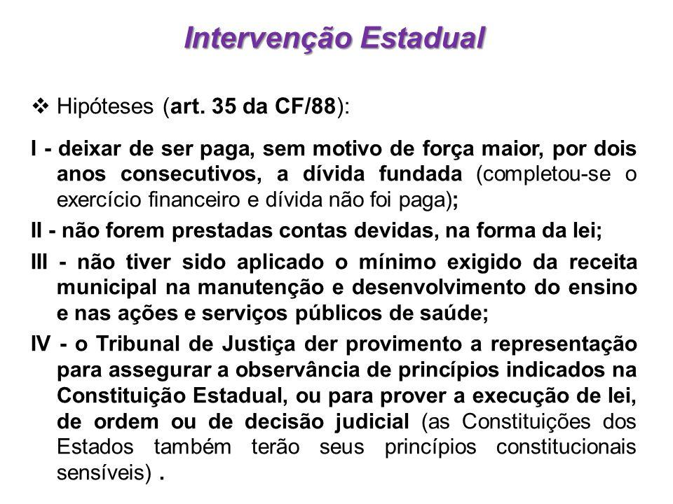  Hipóteses (art. 35 da CF/88): I - deixar de ser paga, sem motivo de força maior, por dois anos consecutivos, a dívida fundada (completou-se o exercí