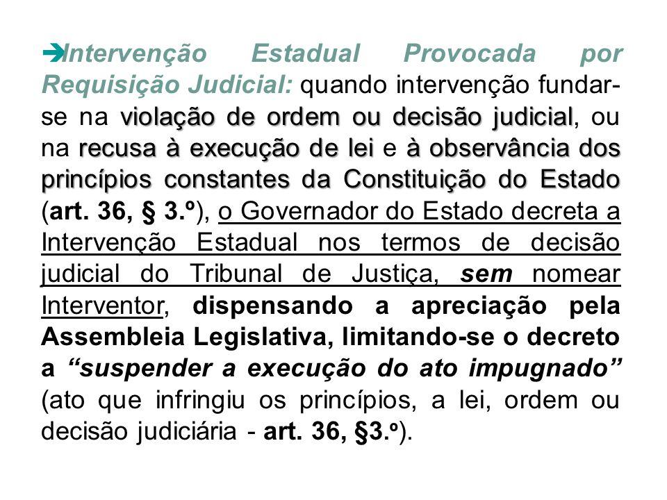 violação de ordem ou decisão judicial recusa à execução de lei à observância dos princípios constantes da Constituição do Estado  Intervenção Estadua