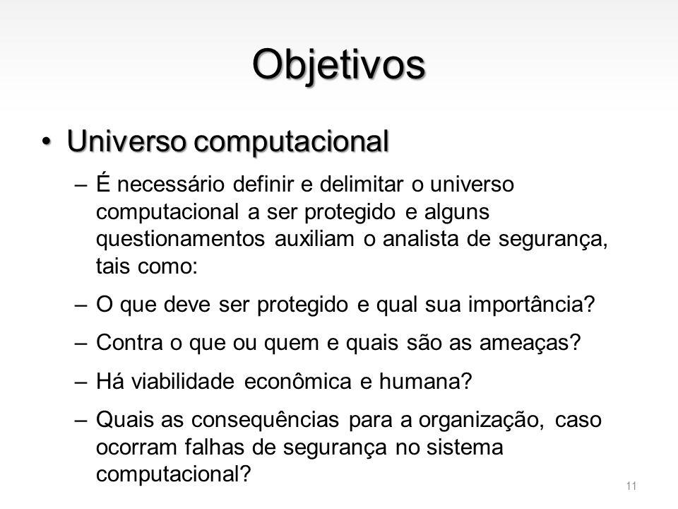 Objetivos •Universo computacional –É necessário definir e delimitar o universo computacional a ser protegido e alguns questionamentos auxiliam o anali
