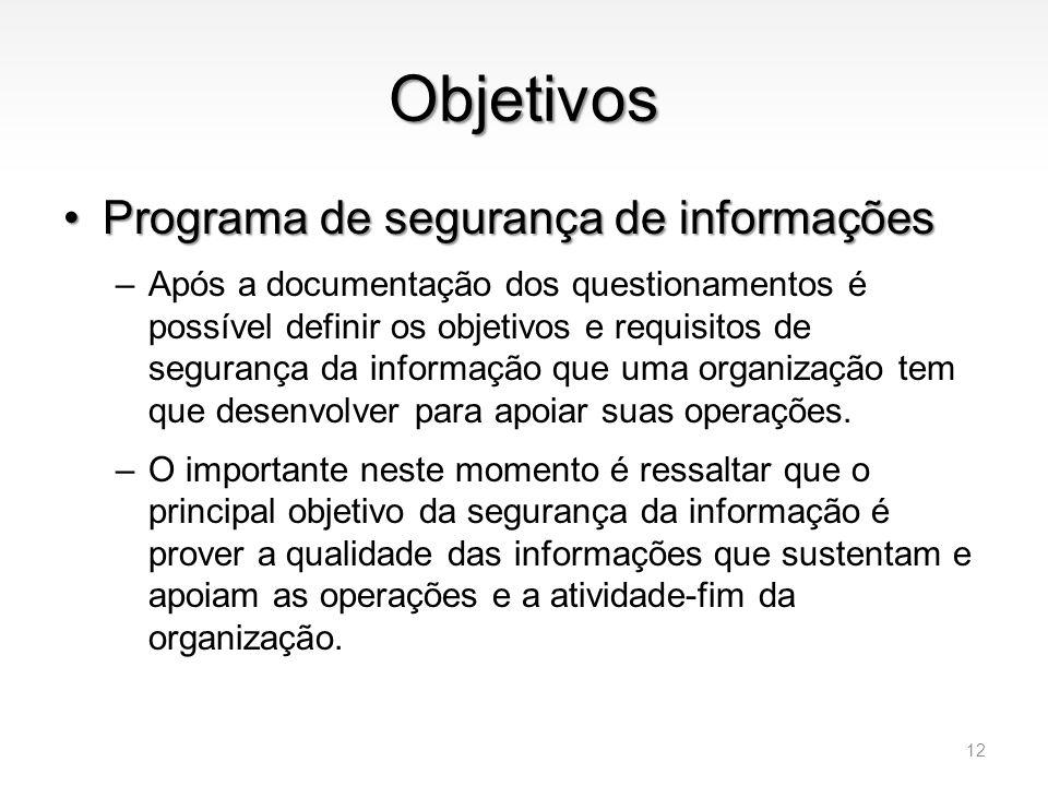Objetivos •Programa de segurança de informações –Após a documentação dos questionamentos é possível definir os objetivos e requisitos de segurança da