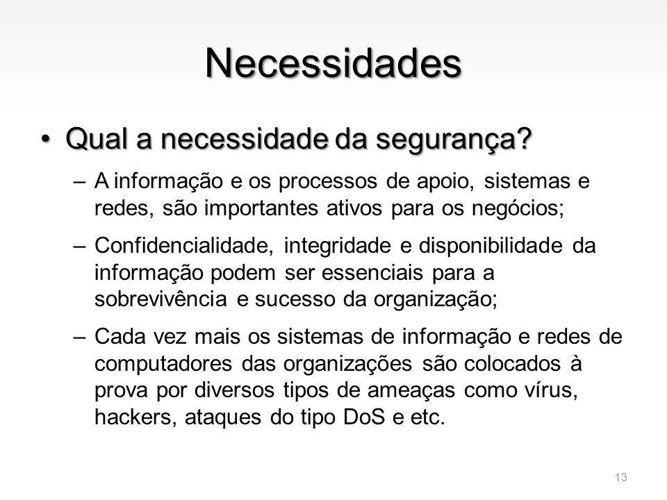 Necessidades •Qual a necessidade da segurança? –A informação e os processos de apoio, sistemas e redes, são importantes ativos para os negócios; –Conf