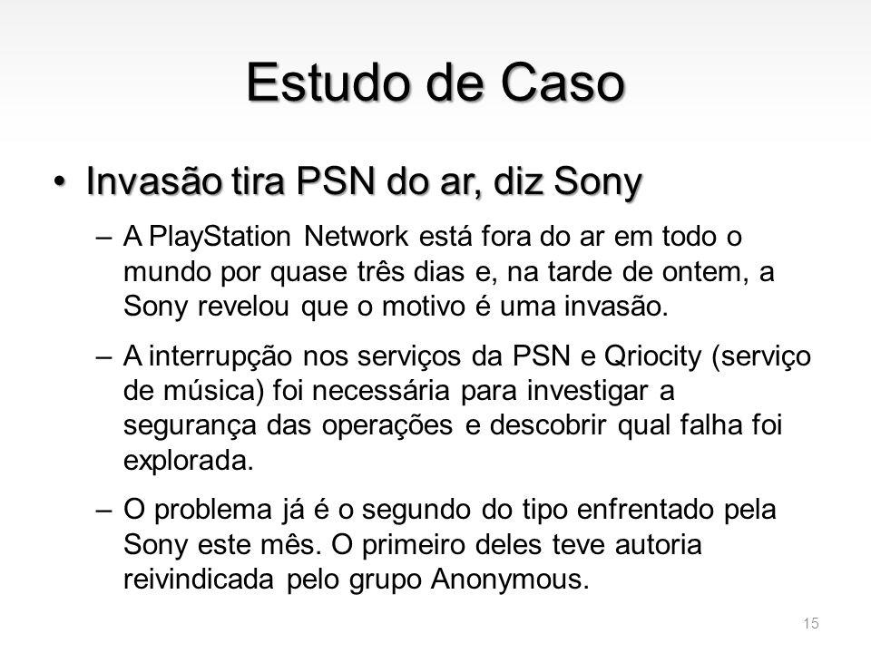 Estudo de Caso •Invasão tira PSN do ar, diz Sony –A PlayStation Network está fora do ar em todo o mundo por quase três dias e, na tarde de ontem, a So