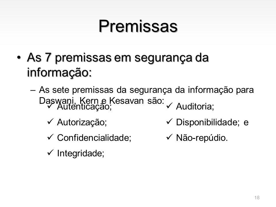 Premissas •As 7 premissas em segurança da informação: –As sete premissas da segurança da informação para Daswani, Kern e Kesavan são: 18  Autenticaçã