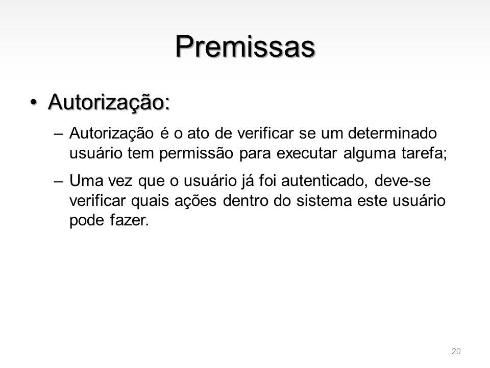 Premissas •Autorização: –Autorização é o ato de verificar se um determinado usuário tem permissão para executar alguma tarefa; –Uma vez que o usuário
